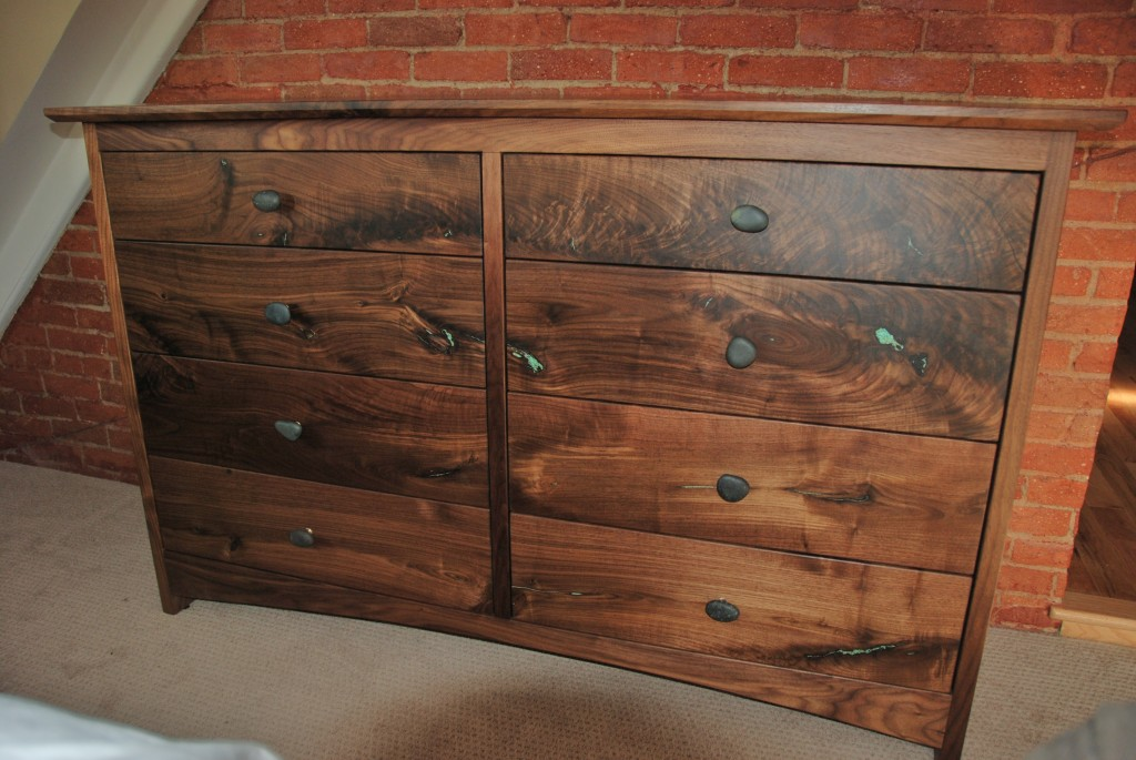 "Walnut ""Prairie"" 8-Drawer Dresser with Turquoise Inlay"