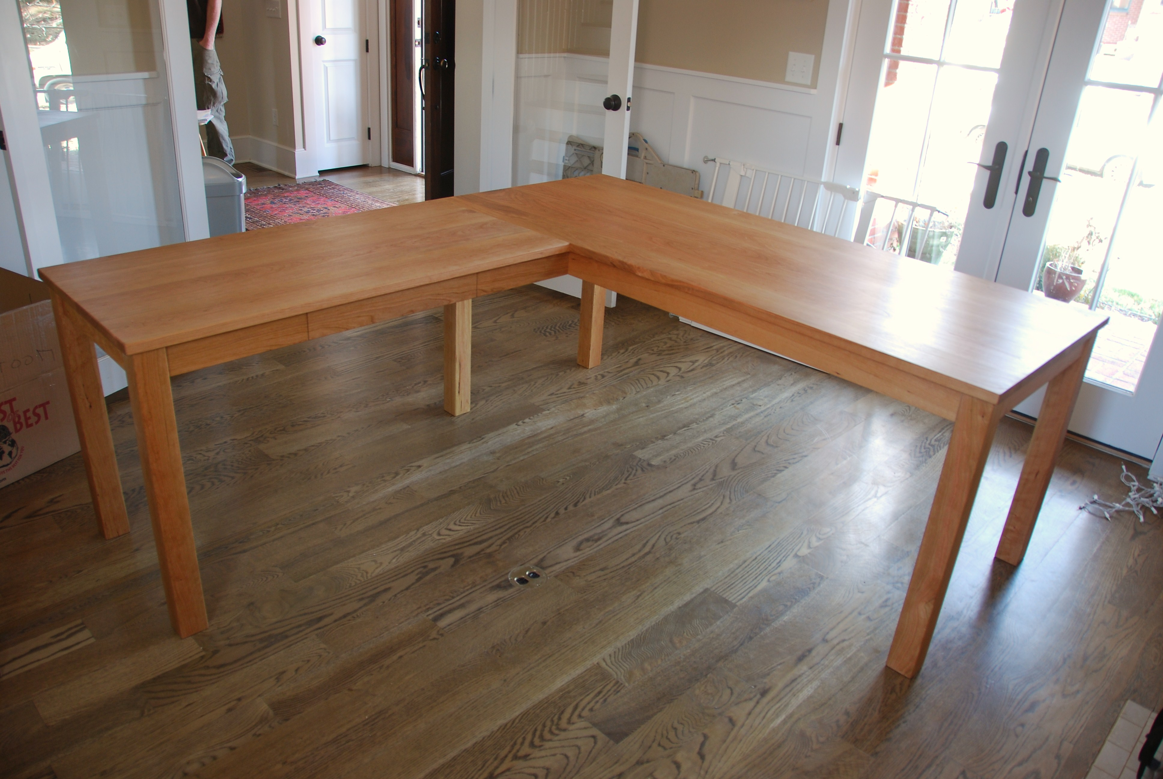 Solid Cherry Contemporary L Shaped Desk