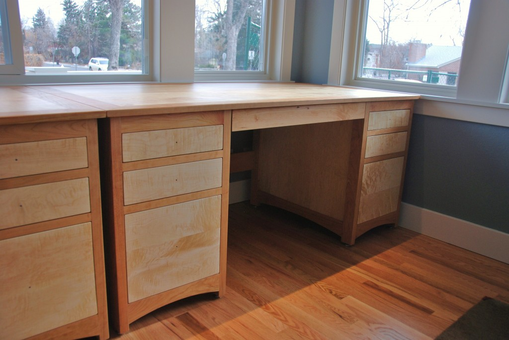 "Cherry & Birdseye Maple ""Prairie"" Partners Desk"
