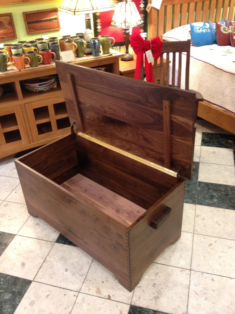 Solid Walnut Hope Chest with Turquoise Inlay