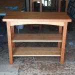 "Solid Cherry ""Prairie"" Kitchen Table with Fixed Shelves"