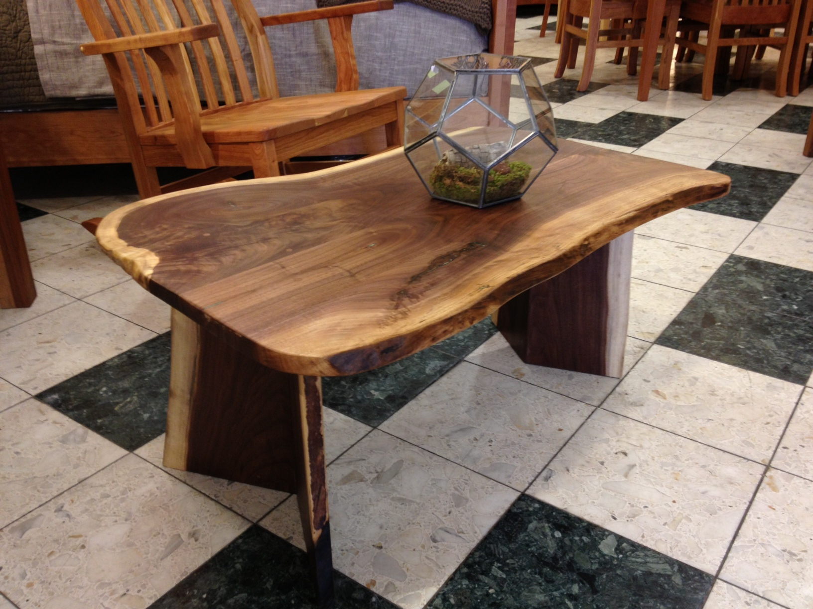 Solid Walnut Liveedge Coffee Table With Turquoise Inlay Boulder Furniture Arts