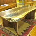 "Black Walnut ""LiveEdge"" Coffee Table with Turquoise Inlay"