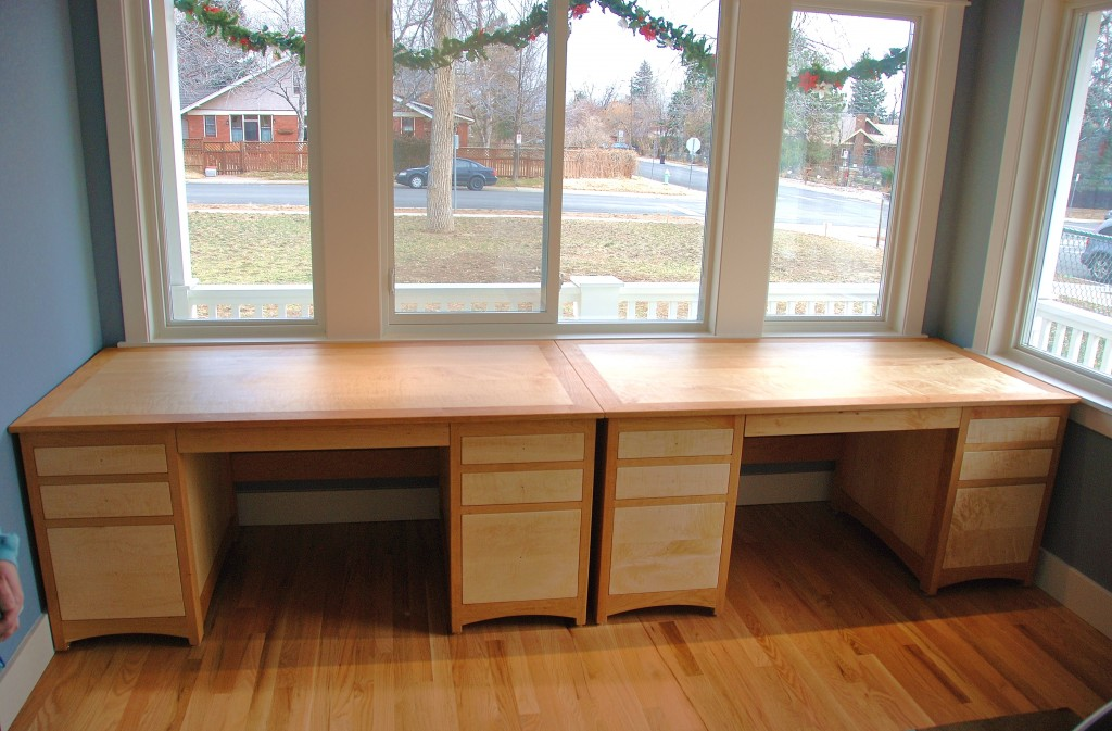 "Cherry ""Prairie"" Partners Desks with Birdseye Maple Fronts & Inlay"