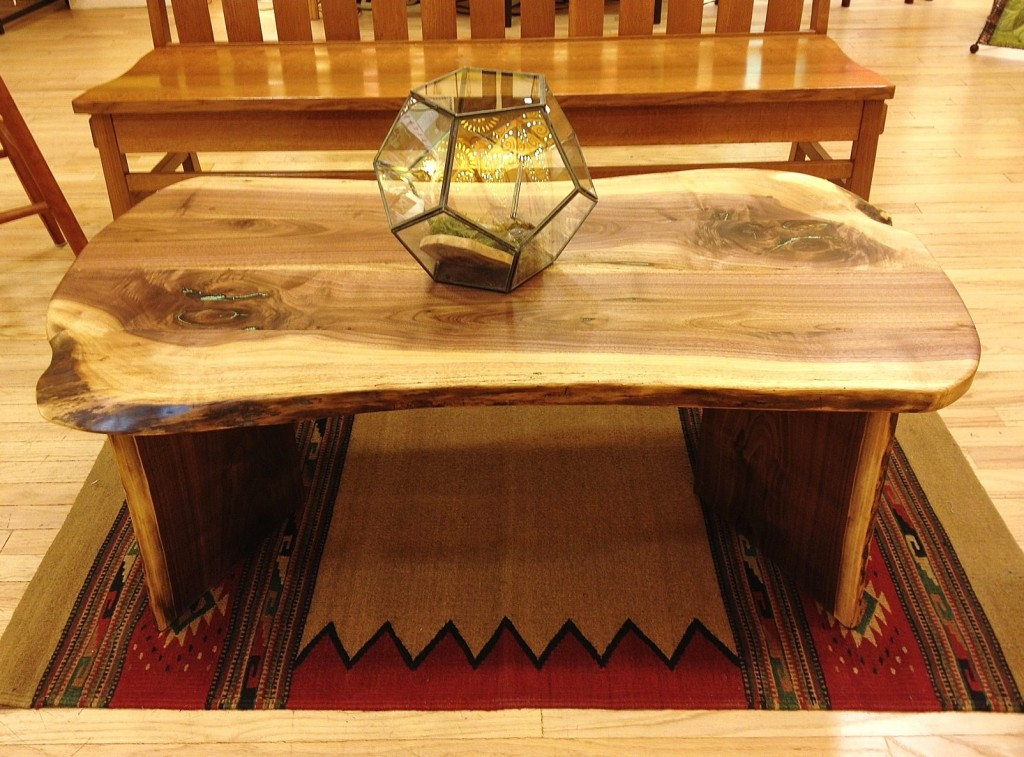 Liveedge Walnut Coffee Table With Turquoise Inlay Boulder Furniture Arts