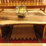 "Walnut ""LiveEdge"" Coffee Table with Turquoise Inlay"