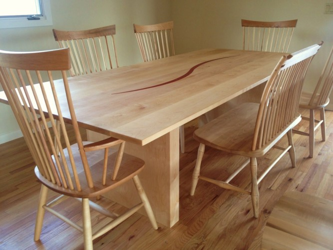 Custom Solid Maple Curtain Leg Table with Coral Inlay