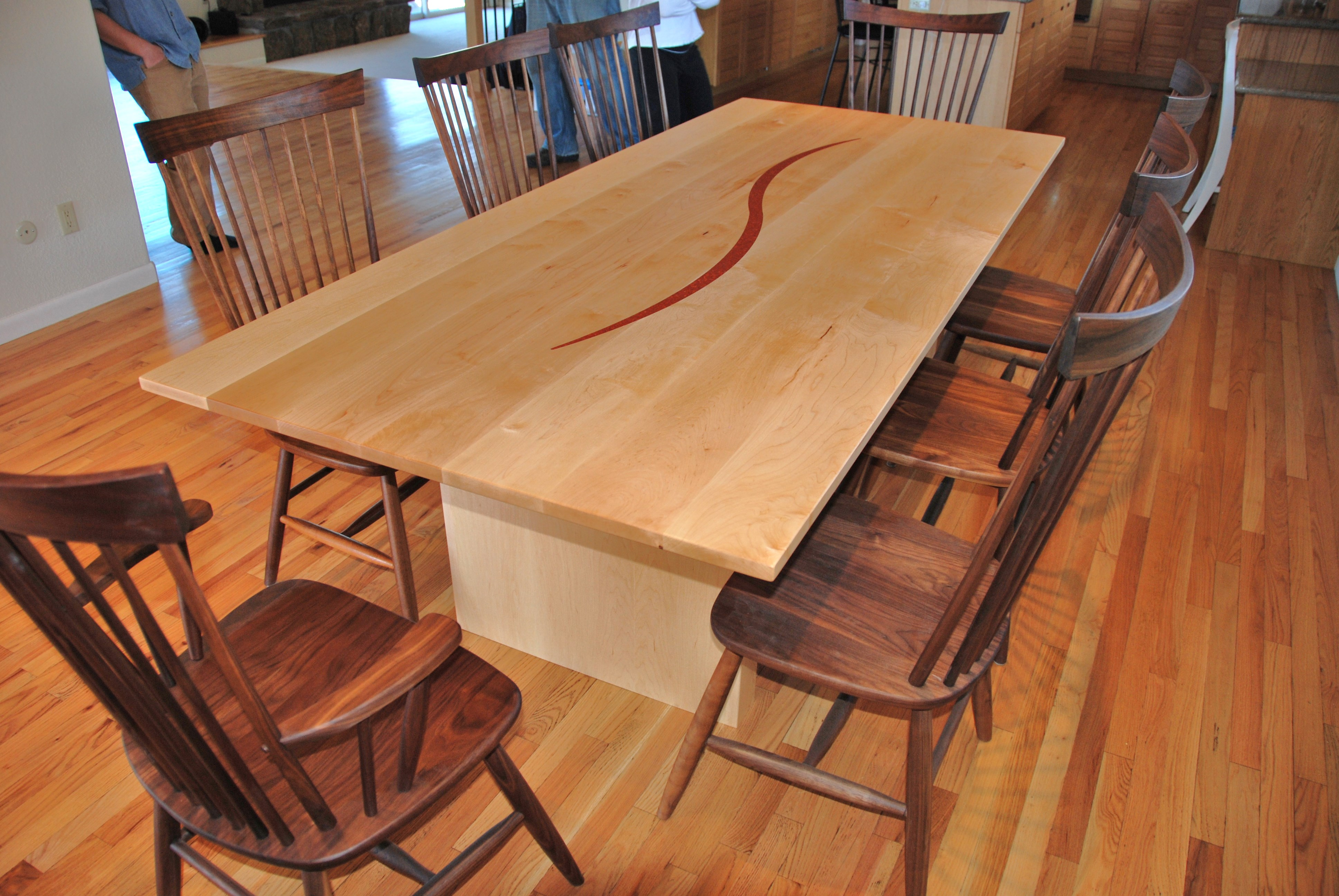 custom solid maple dining table with coral inlay boulder furniture arts. Black Bedroom Furniture Sets. Home Design Ideas