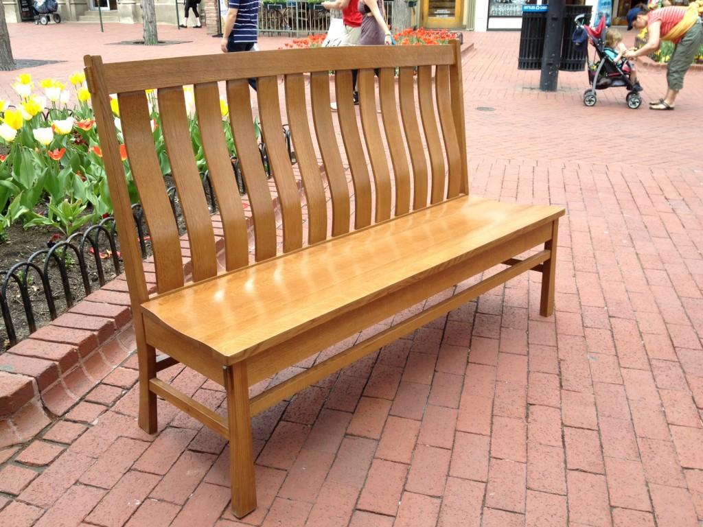 "Solid White Oak ""Craftsman"" Bench (Stained) - 72"""