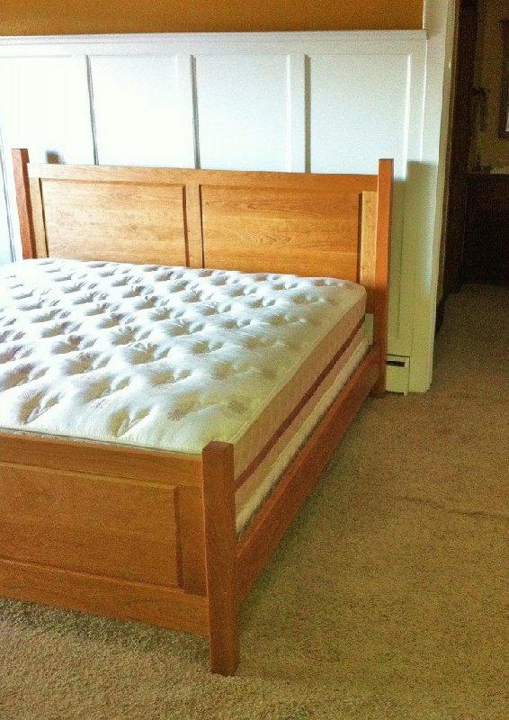 Custom Solid Cherry Queen Raised Panel Bed