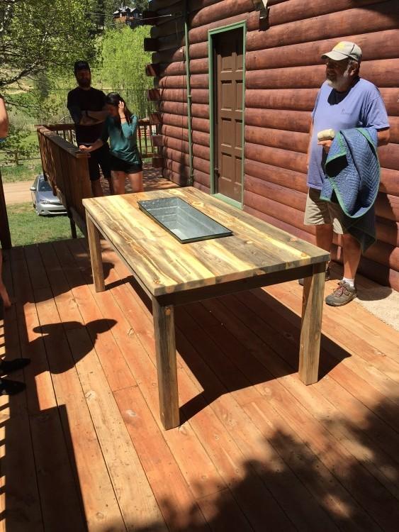 "Solid Beetlekill ""Flatiron"" Outdoor Table with Steel Trough"