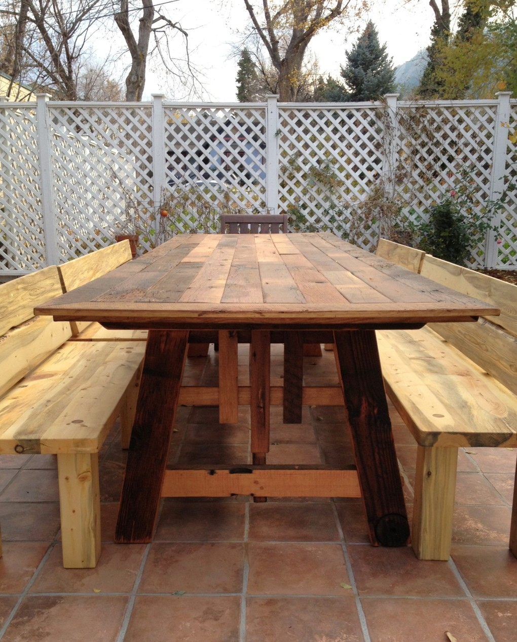 Custom Reclaimed Floorboard Outdoor Table