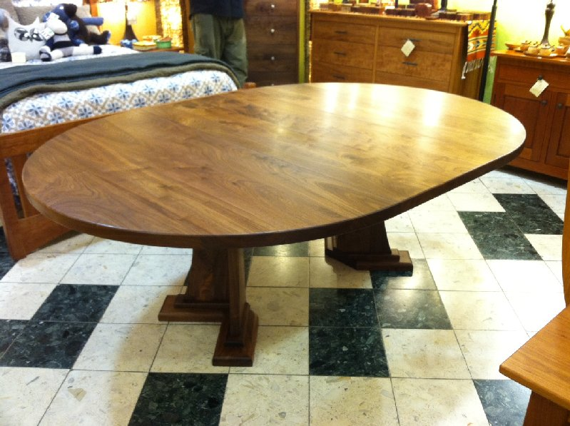 "Solid Walnut ""Craftsman"" Split Round Pedestal Table with Leaf"