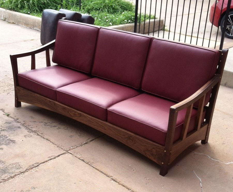 "Custom Walnut ""Craftsman"" Sofa with Italian Leather"