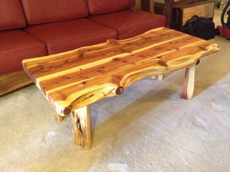 Etonnant LiveEdge Red Cedar Coffee Table With Turquoise Inlay