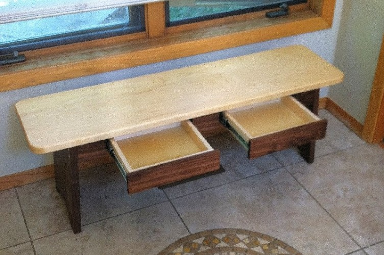 "Walnut and Maple ""Shaker"" Backless Storage Bench - 42"""