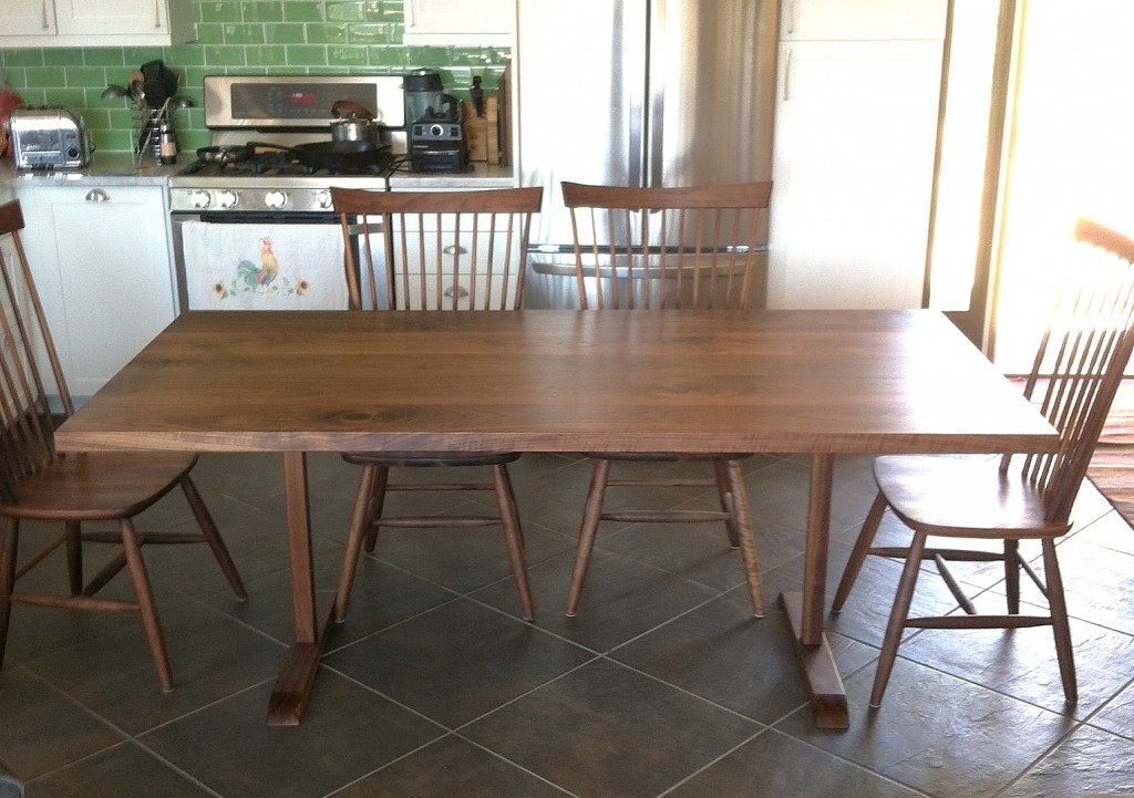 "Solid Walnut ""Shaker"" Trestle Table"