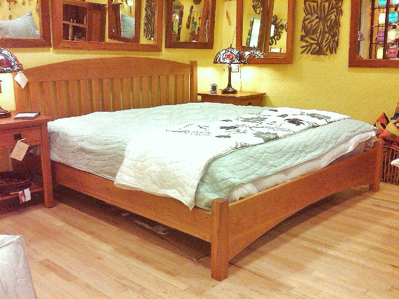 "Solid Cherry ""Slat Arch"" King Bed with Rail Foot and Arch"