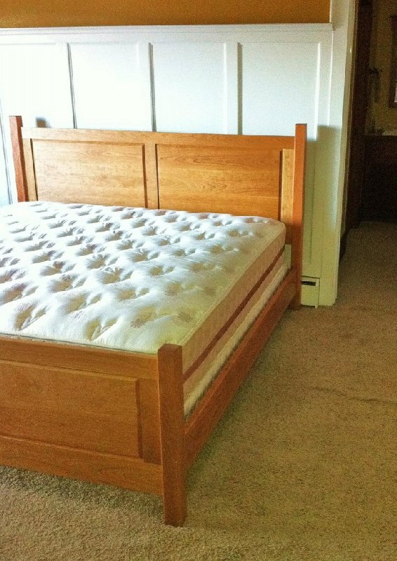 Solid Cherry King Size Double Raised Panel Headboard And Footboard