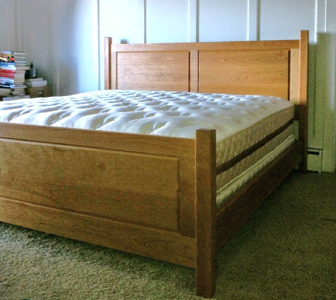 Solid Cherry Double Raised Panel Headboard And Footboard