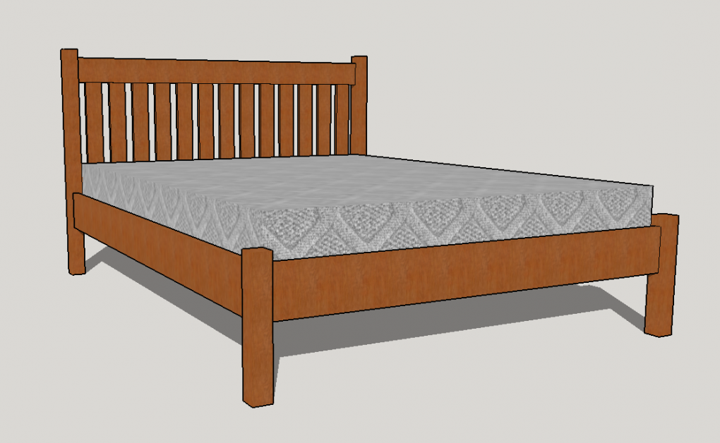 "Solid Cherry ""Mission"" Platform Bed"