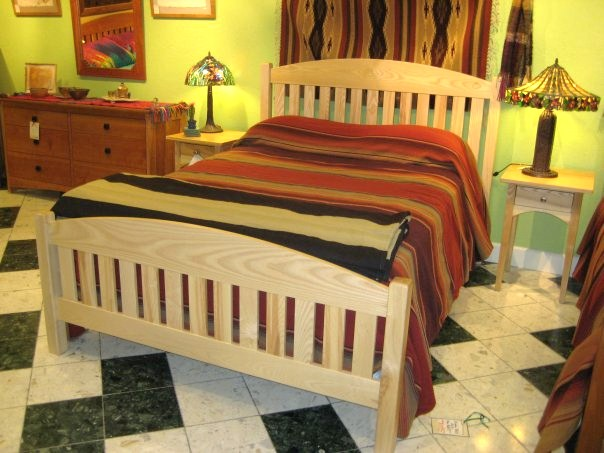 "Solid Ash ""Slat Arch"" Queen Bed"