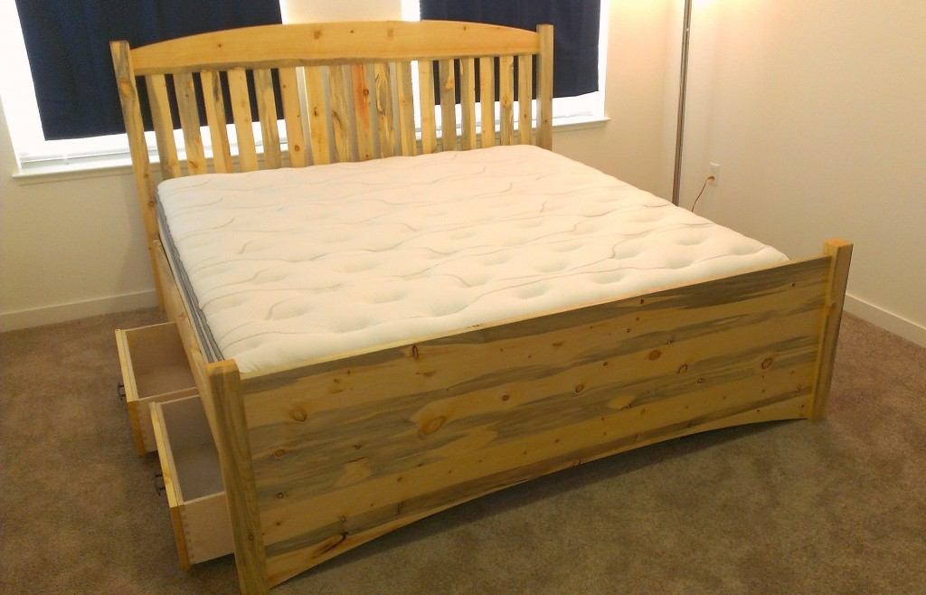 "Solid Beetlekill ""Slat Arch"" Bed with Underbed Storage"