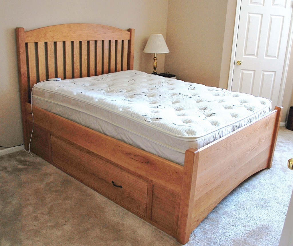 Solid cherry slat arch queen bed with underbed storage boulder furniture arts Queen bedroom sets with underbed storage