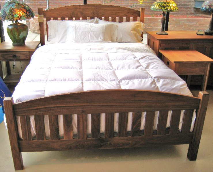 "Solid Walnut ""Slat Arch"" Queen Bed"