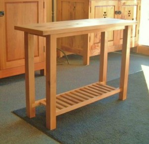 "Solid Alder ""Mission"" Kitchen Table with Slatted Shelf"