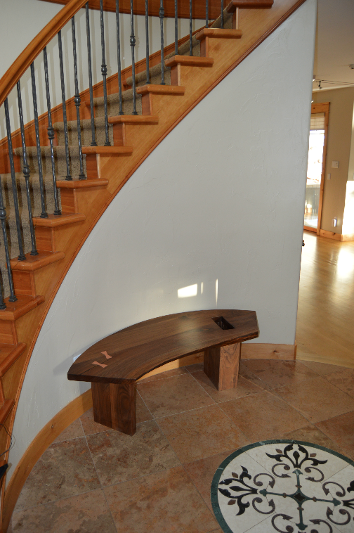"Solid Walnut ""Flatiron"" Backless Curved Bench with LiveEdge and Copper Butterfly Joints"