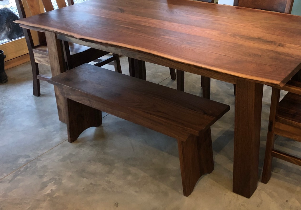 "Solid Walnut ""Shaker"" Backless 45"" Bench"