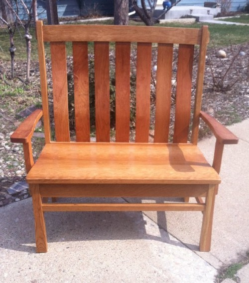 "Solid Cherry ""Craftsman"" Bench with Arms - 48"""