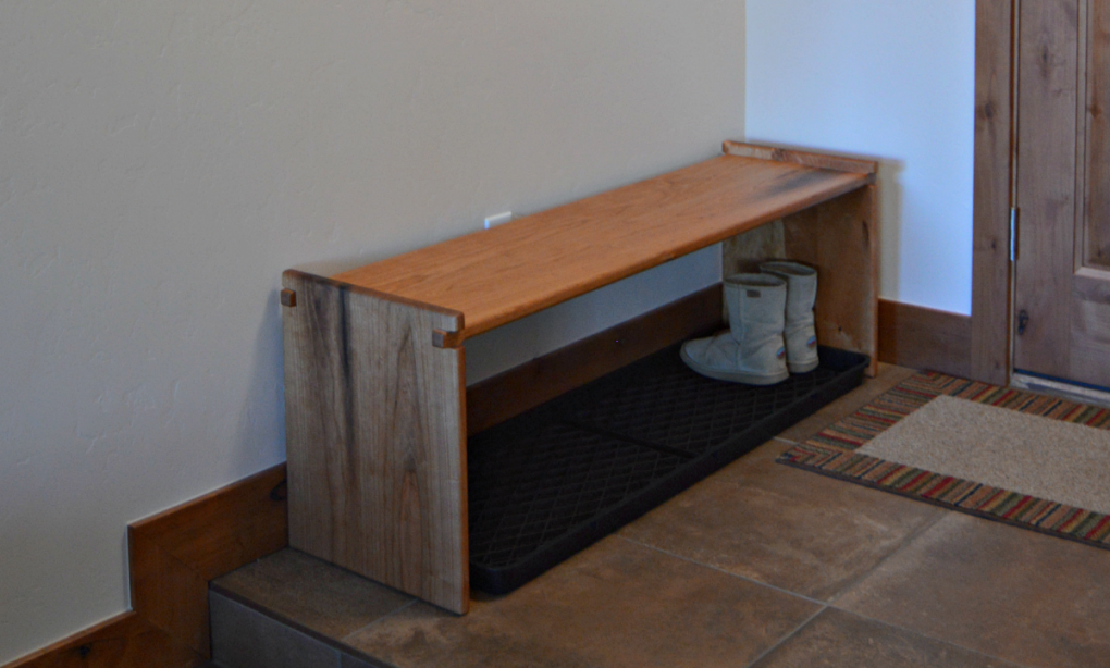 "Custom Solid Cherry ""Flatiron"" Backless Bench with Exposed Finger Joinery"