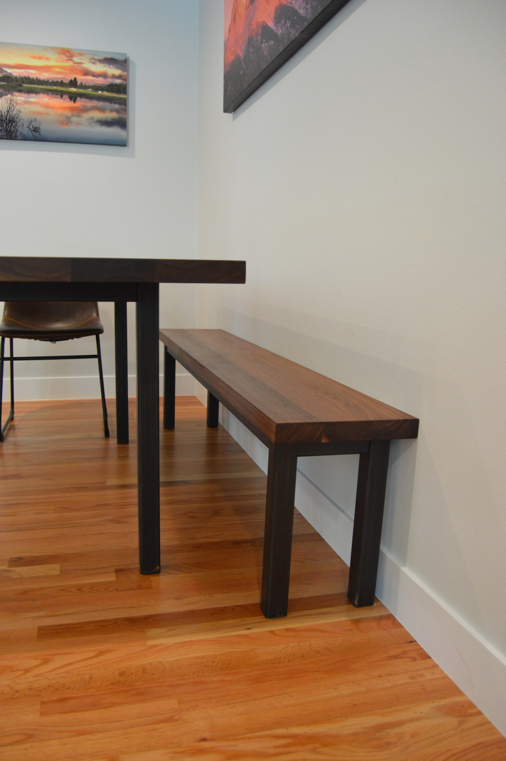 "Solid Walnut ""Flatiron"" Backless Bench on Steel Parsons Base"