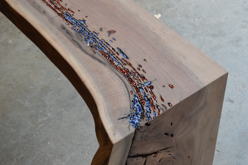 "Solid Walnut ""Flatiron"" Waterfall Bench with Lapiz + Jasper Inlay"