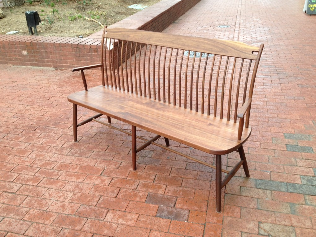 "Solid Walnut ""Lansing"" Bench with Arms - 60"""