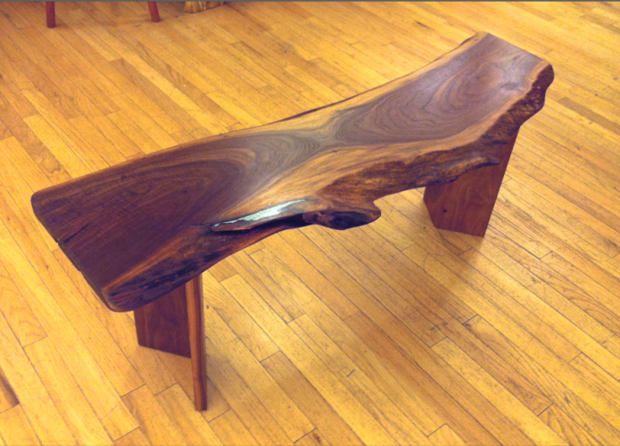 "Solid Walnut ""Colorado"" LiveEdge Bench with Turquoise Inlay"