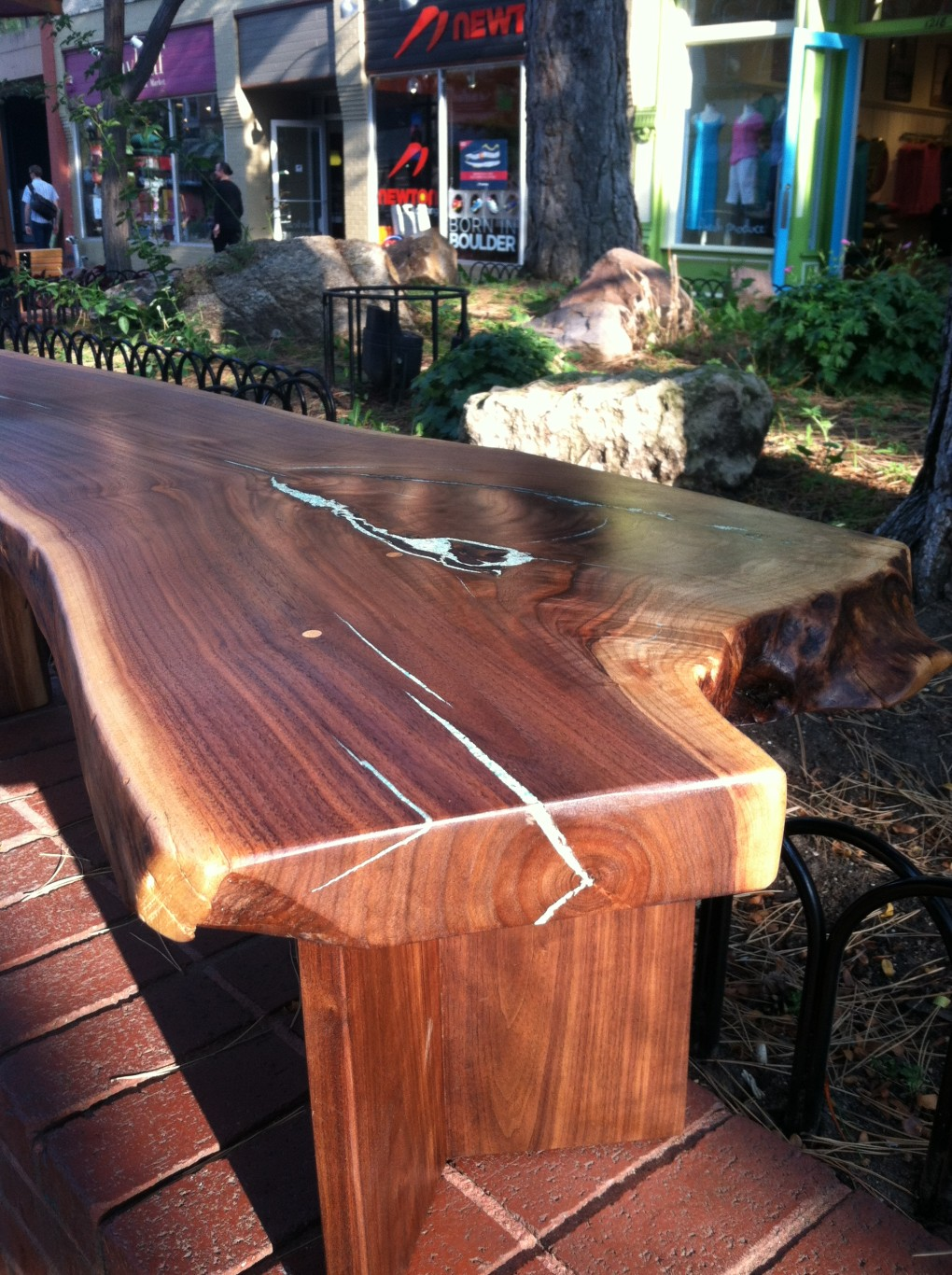 "Solid Walnut ""LiveEdge"" Waterfall Bench with Turquoise Inlay"