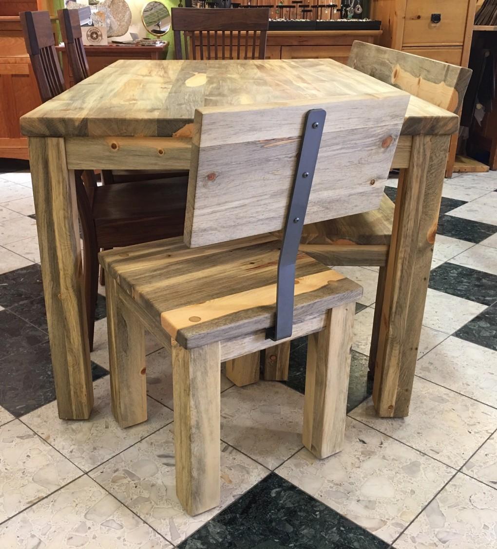 "Solid Beetlekill ""Flatiron"" Chair with Steel Upright"