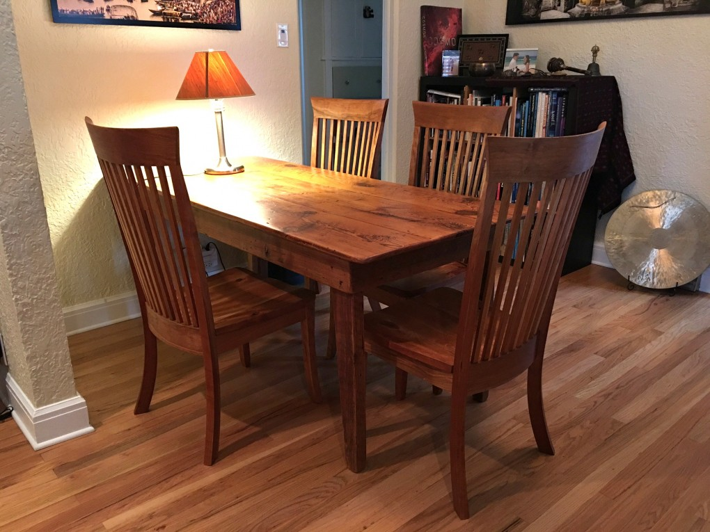"""Solid Cherry """"Hawthorn"""" Chairs with Rustic Cherry Seats"""