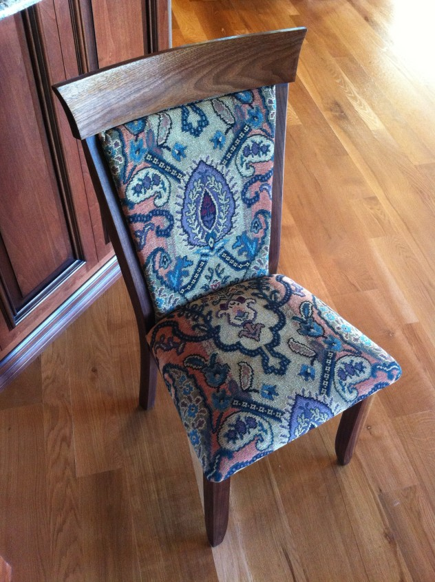 """Solid Walnut """"Hawthorn"""" Chair with Upholstery"""