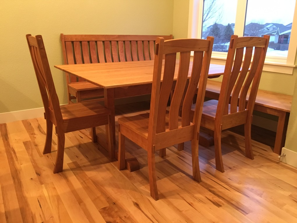Chair Craftsman Table Shaker Trestle Cherry Bench 72 60x48 Backless