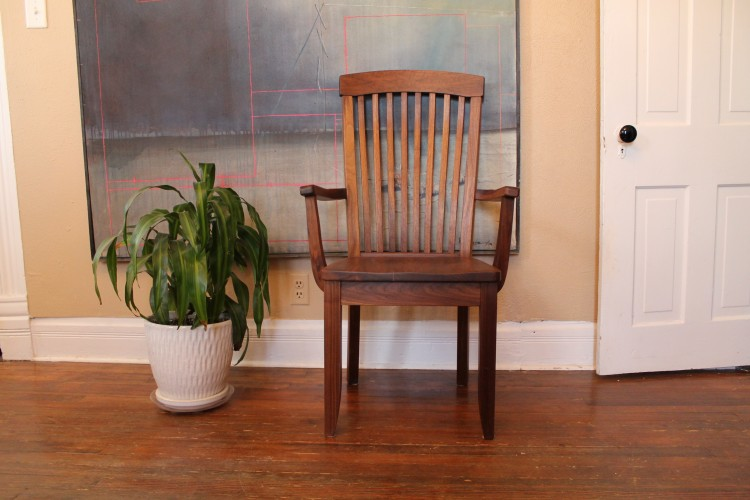 "Solid Walnut ""Newland"" Arm Chair"
