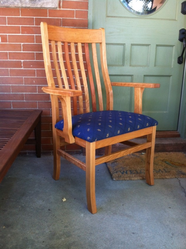 """Solid Cherry """"Deluxe Mission"""" Arm Chair with Upholstery"""
