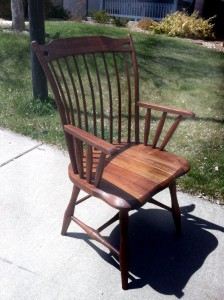 "Solid Walnut ""Lansing"" Arm Chair"