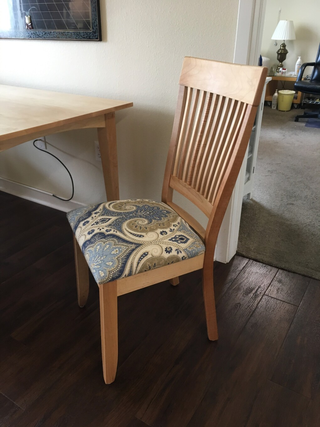 "Solid Maple ""Whittier"" Chair with Upholstery"