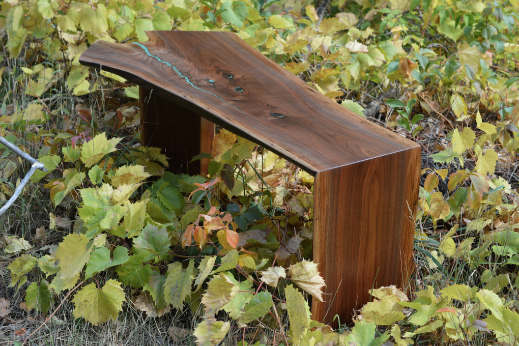 "Solid Walnut ""Flatiron"" LiveEdge Waterfall Bench with Turquoise Inlay"
