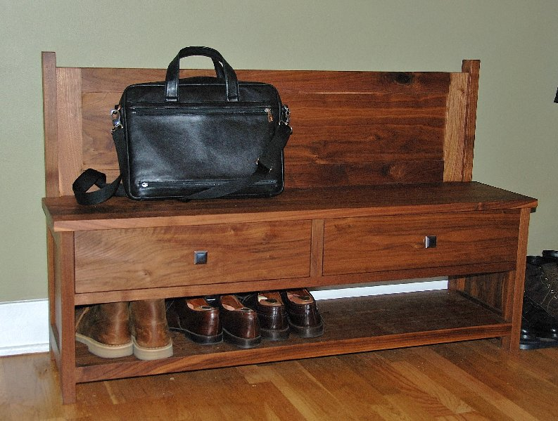 "Solid Walnut ""Emerson"" Entry Bench"