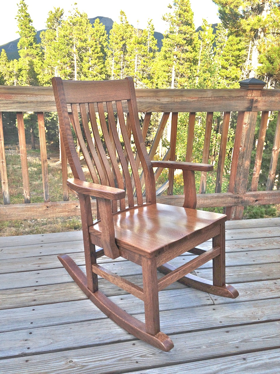 "Solid Quartersawn White Oak ""Mission"" Rocker with Outdoor Stain"